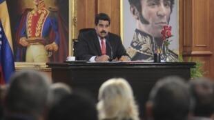 El presidente Nicolás Maduro durante una conferencia de prensa