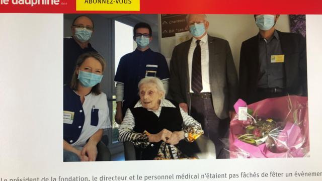 法国105岁女寿星命硬 染冠状病毒痊愈逃过一劫(photo:RFI)