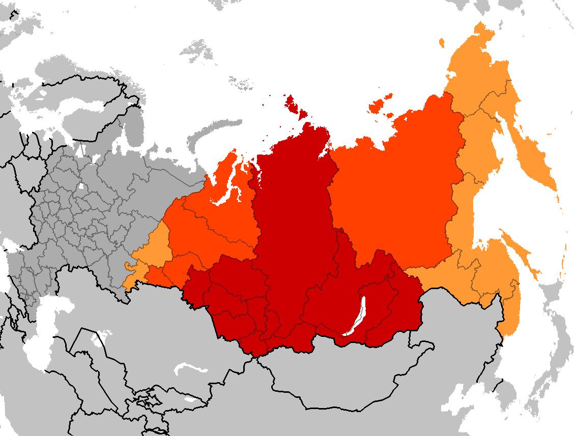 Mapa da Sibéria. Imagem ilustrativa