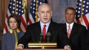 Israeli Prime Minister Benjamin Netanyahu speaks in the U.S. Capitol in Washington, 6 March, 2012