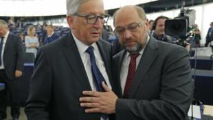 Jean-Claude Juncker (g.), président de la Commssion européenne, et Martin Schulz, président du Parlement européen, ce 9 septembre à Strasbourg.