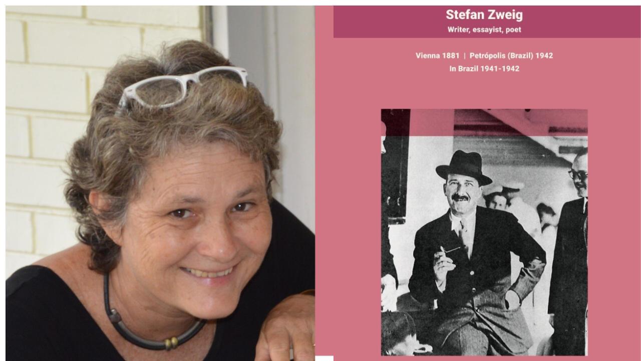 Kristina Michahelles, curadora da mostra(esquerda) e o do escritor Stefan Zweig, cuja trajetória é mostrada através de textos e imagens.