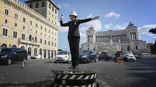 """The raised traffic police platform on Piazza Venezia went back into service this month, with Mayor Virginia Raggi calling it """"a symbol of Rome"""""""