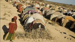 Un camp des réfugiés, victimes de la sécheresse, dans la ville Wajid au sud de la Somalie.