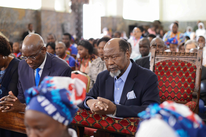 Joaquim Chissano (direita), ex-Presidente da República de Moçambique, Sé Catedral de Maputo. 03 de Março de 2019.