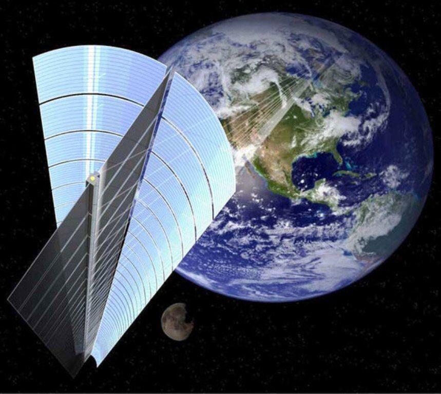 Une vue d'artiste de la ferme solaire (SSPS) envisagée en orbite en 2030 par la Jaxa.