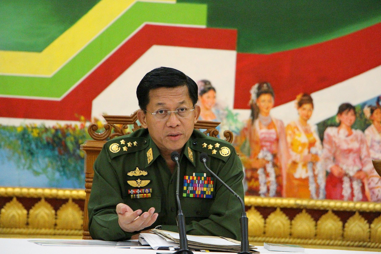 Tướng Min Aung Hlaing, Tư lệnh Quân đội Miến Điện. Ảnh chụp ngày 21/09/2015.