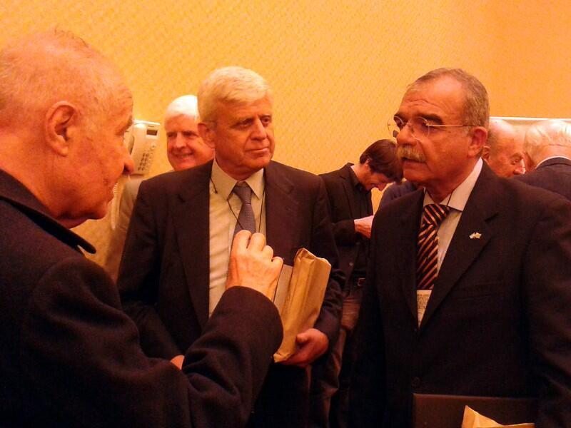 A la derecha el ex coronel Elmar Castiglioni durante un encuentro de represores en Buenos Aires en 2014