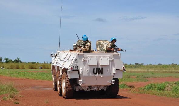 Des soldats de la paix de la Monusco lors d'une patrouille en RDC.
