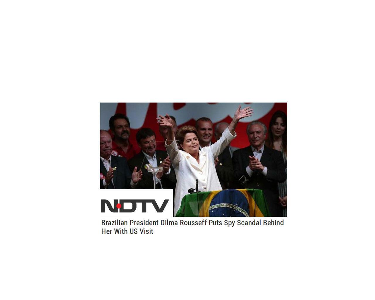 Artigo do site do canal NDTV sobre visita da presidente Dilma Rousseff aos Estados Unidos.