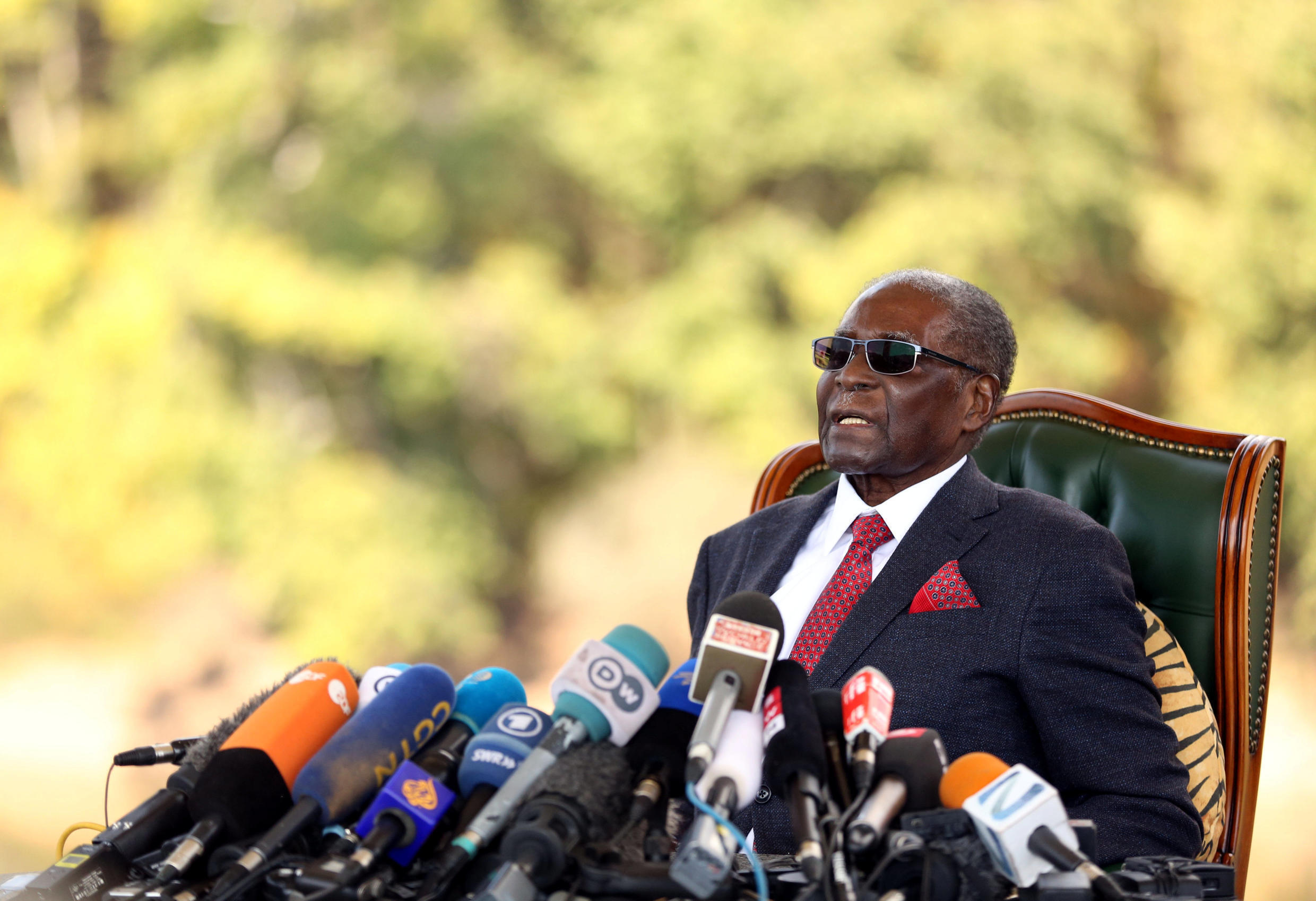 Zimbabwe's former president Robert Mugabe during a press conference at his private residence in Harare, 29 July 2018.