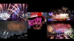 O ano novo já foi comemorado em boa parte do mundo. Aqui vemos fotos do Japão, Kuala Lumpur, Austrália, e Singapura. Fotomontagem RFI
