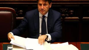 O premiê italiano Giuseppe Conte durante sua primeira sessão na Câmara dos Deputados em Roma, na Itália, em 6 de junho de 2018.