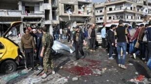 Imagen de un atentado con coche bomba en Homs en febrero de 2016