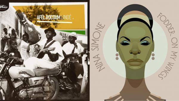 A gauche, l'album d'Afel Bocoum Lindé. A droite, l'album de Nina Simone Fodder on my Wings