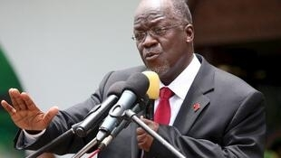 Tanzania's President John Pombe Magufuli addresses members of the ruling Chama Cha Mapinduzi Party (CCM) at the party's sub-head office on Lumumba road in Dar es Salaam, file.