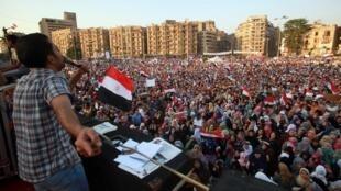 Des milliers d'Egyptiens se sont une fois encore retrouvés place Tahrir, mardi 5 juin, pour dénoncer ce qu'ils considèrent comme le «détournement» de la révolution qui a chassé Hosni Moubarak du pouvoir.