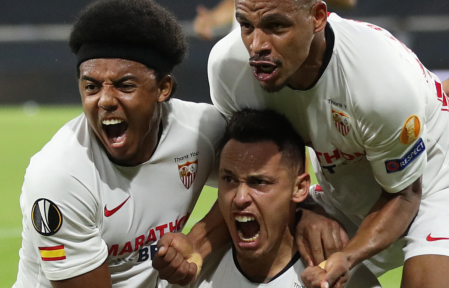 Lucas Ocampos (centre) scored Sevilla's winner against Wolverhampton Wanderers in the last eight of the Europa League.