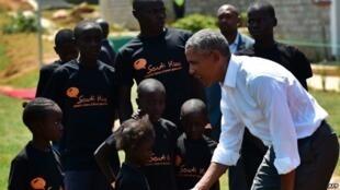 Rais wa zamani wa Marekani Barack Obama huko Kogelo, Kenya, Julai 16, 2018.
