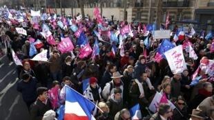 Rassemblement «Manif pour tous» à Paris, 2 février 2014.