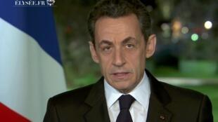O presidente Nicolas Sarkozy em seu pronunciamento de Ano Novo à nação.