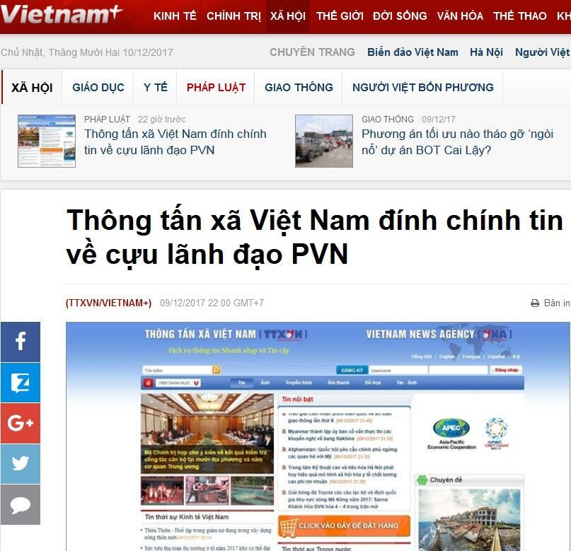 Ảnh chụp màn hình trang mạng Vietnam+ ngày 10/12/2017, loan tin TTXVN cải chính tin tức về PetroVietnam