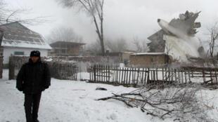 Турецкий грузовой самолет упал на дачный поселок под Бишкеком, 16 января 2017 г.