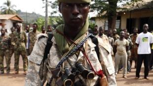 Un soldat tchadien au camp de Béal, à Bangui, le 9 décembre dernier.