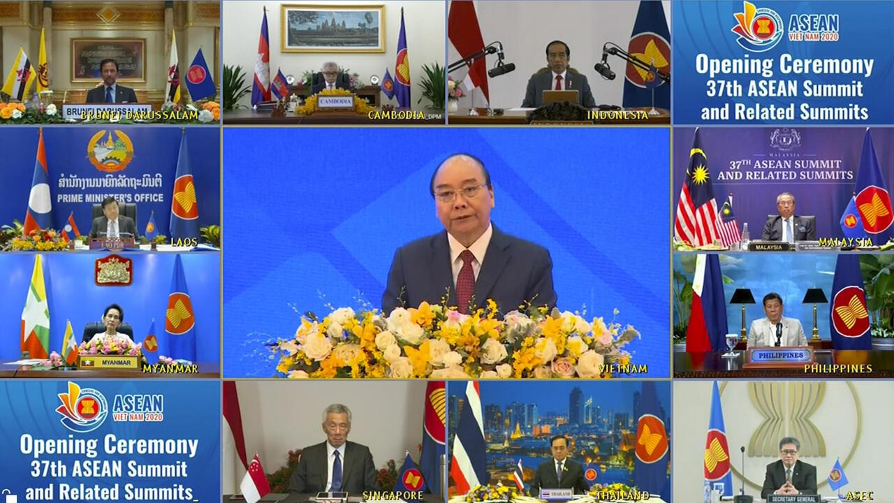 Thượng đỉnh trực tuyến giữa các lãnh đạo ASEAN, Hà Nội, Việt Nam, ngày 12/11/2020.