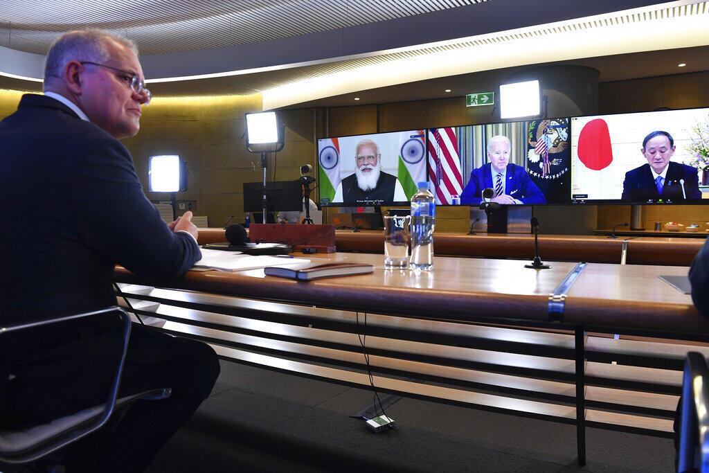 Image d'archive RFI : l'Australien Scott Morrison, l'Indien Narendra Modi, le président américain et le Japonais Yoshihide Suga, le 12 mars 2021.