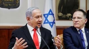 بنیامین نتانیاهو نخست وزیر اسرائیل در نشست هفتگی دولت.