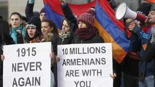 Armenian protesters demonstrate near the European Court of Human Rights in Strasbourg, January 28, 2015