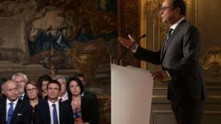 Значительная часть пресс-конференции Франсуа Олланда была посвящена сирийскому кризису, Париж, 7 сентября 2015.