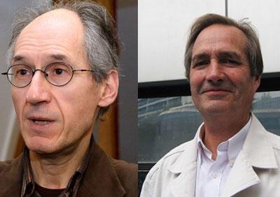 Gérard Briard, rédacteur en chef de Charlie Hebdo (G) et Jean-Marie Charon, sociologue, spécialiste des médias.