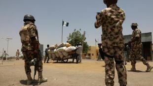 Wasu sojin Najeriya a Gamboru Ngala, dake jihar Borno.