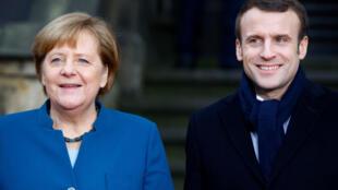 La chancelière allemande Angela Merkel et le président français Emmanuel Macron (image d'illustration).