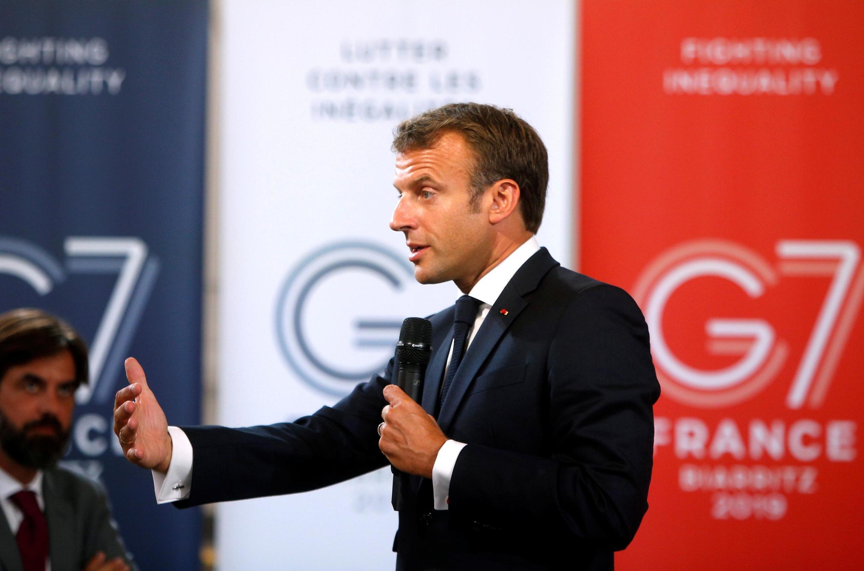 Presidente francês, Emmanuel Macron, nos preparativos para o G7 (23/08/2019).