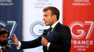 President Emmanuel Macron in Biarritz ahead of the G7 Summit on 23 August, 2019.