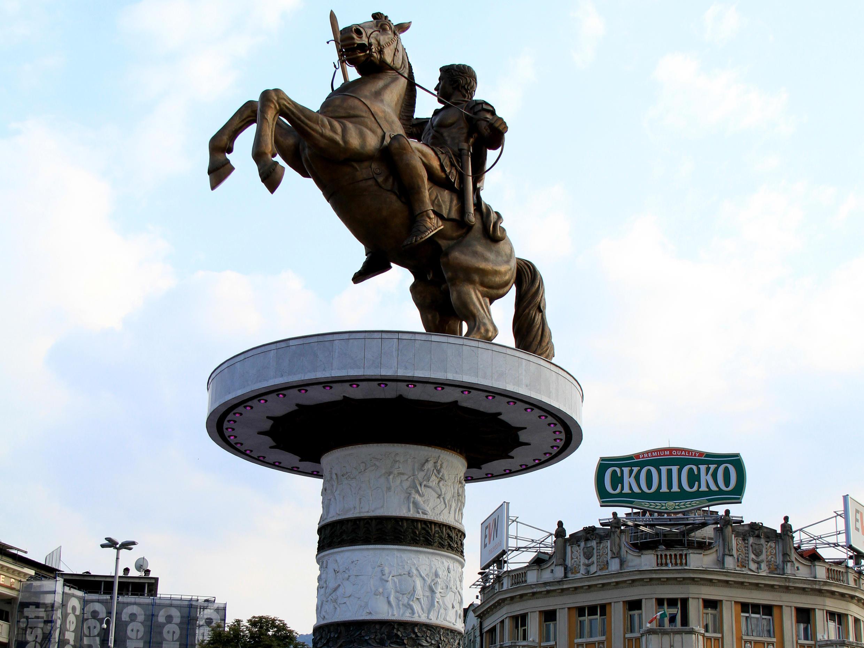 Một tượgn đài tại thủ đô Skopje của Macédonia.