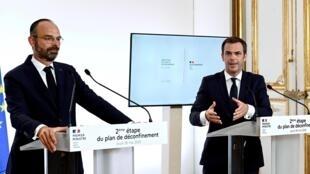 Le Premier ministre, Édouard Philippe, et le ministre de la Santé, Olivier Véran, le 28 mai 2020.