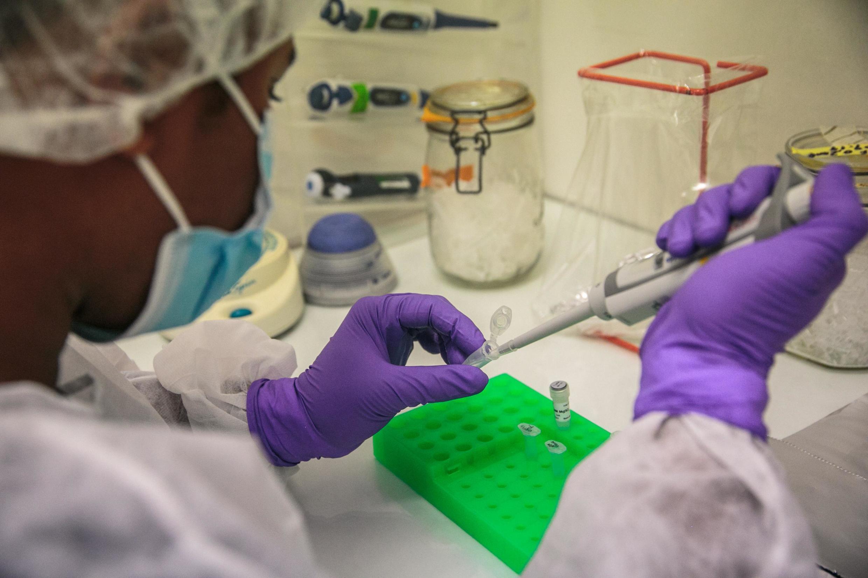 Les techniciens de laboratoire de l'Institut Pasteur de Madagascar effectuent des tests dits «PCR» pour déterminer si les patients sont positifs au Covid-19. 23 avril 2020, à Antananarivo.