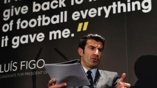 Lançamento da campanha de Luis Figo à presidência da FIFA.