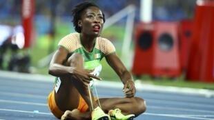 La sprinteuse ivoirienne Marie-Josée Ta Lou durant les JO 2016.
