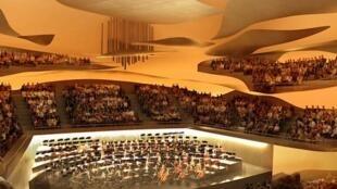 A grande sala da Filarmônica de Paris, projetada pelo arquiteto Jean Nouvel.
