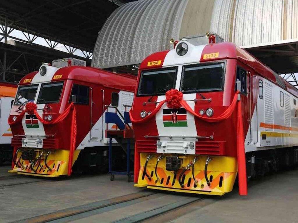 Sehemu ya vichwa vya treni iendayo kasi nchini Kenya wakati vilipozinduliwa.