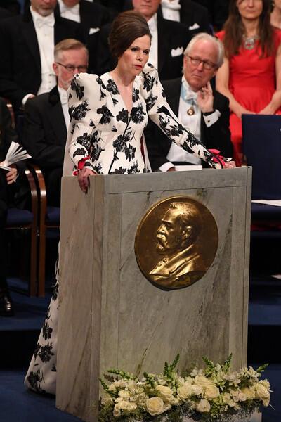 瑞典學院常任秘書長莎拉·丹紐爾(Sara Danius)在頒獎儀式上  2017年12月