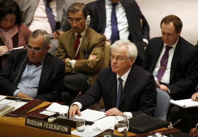 Đại sứ Nga tại Liên hiệp quốc Vitaly Churkin bác bỏ nghị quyết của Đại hội đồng LHQ (REUTERS)