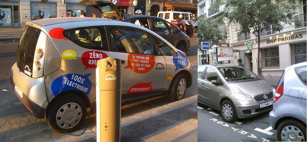 Une voiture Autolib (g) et deux voitures de mobizen (d) en autopartage à Paris.