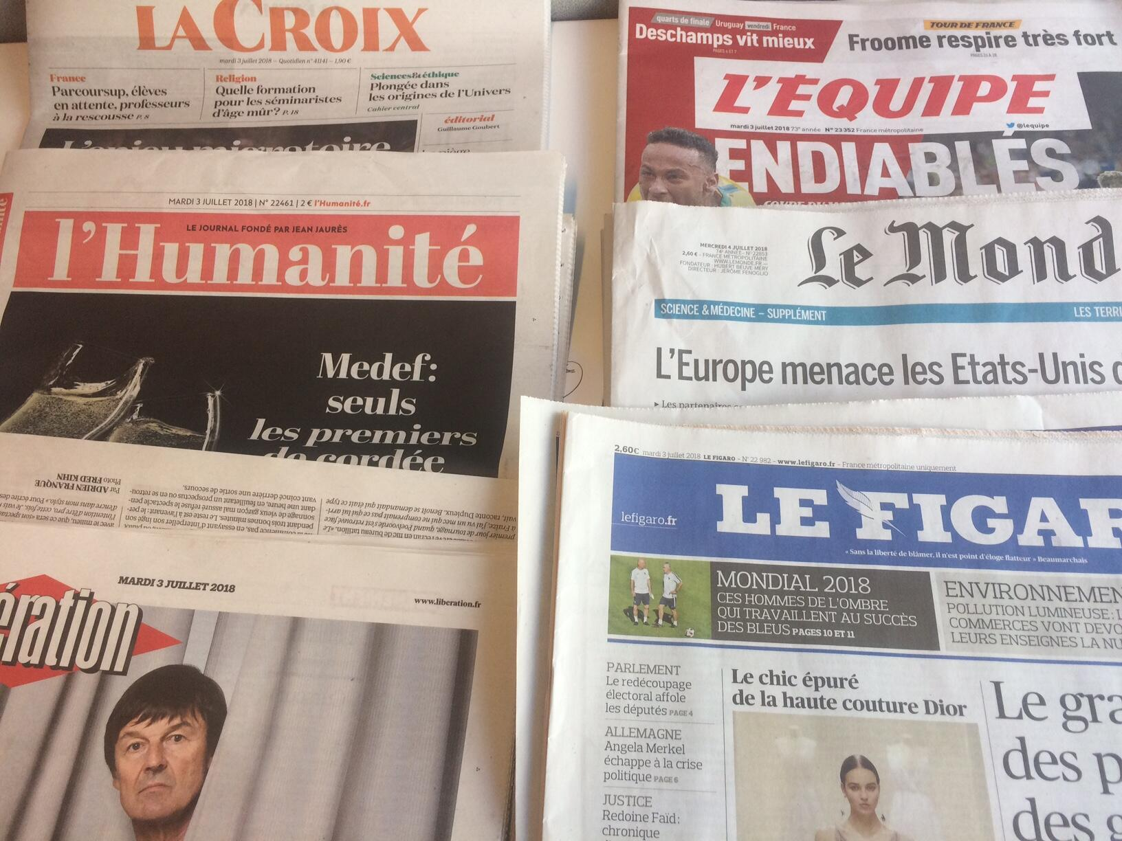 Primeiras páginas dos jornais franceses de 3 de julho de 2018