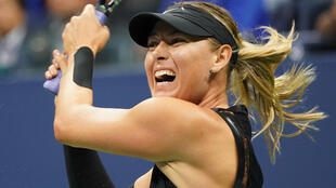 Maria Sharapova in action against Sofia Kenin at the US Open in New York.